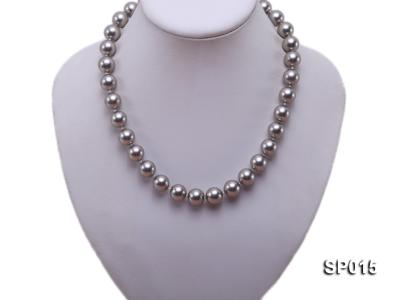 12mm grey round seashell pearl necklace SP015 Image 5