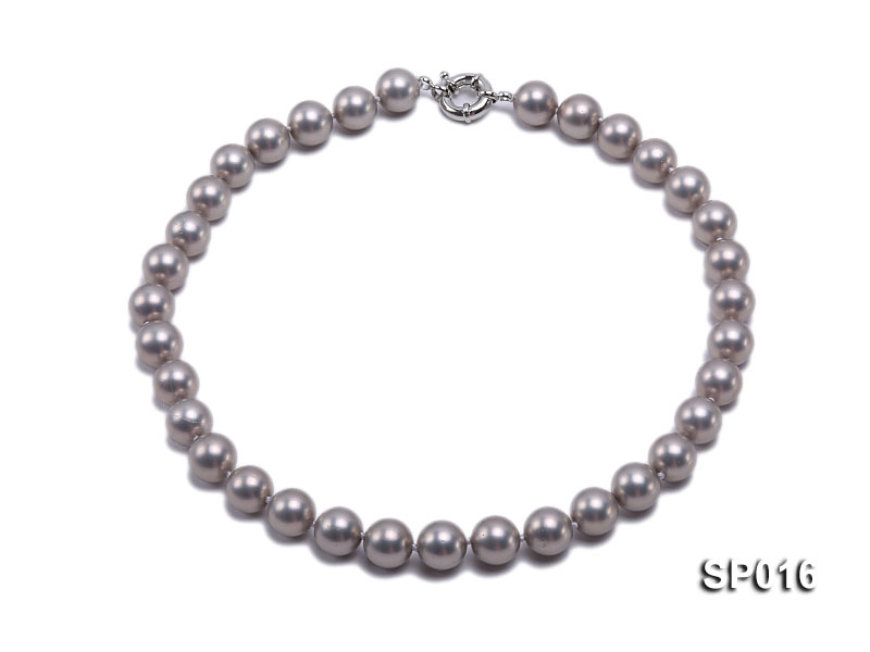 12mm grey round seashell pearl necklace big Image 1