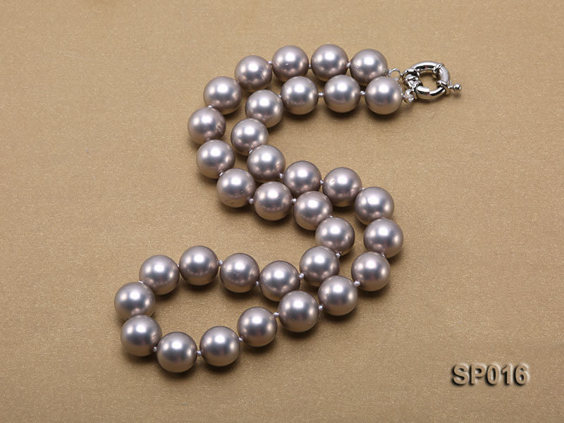 12mm grey round seashell pearl necklace big Image 2