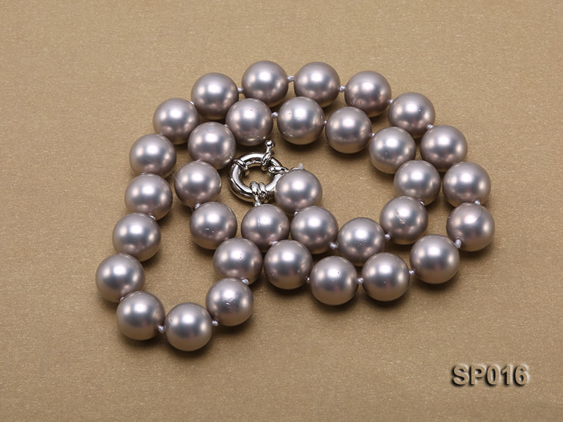 12mm grey round seashell pearl necklace big Image 3