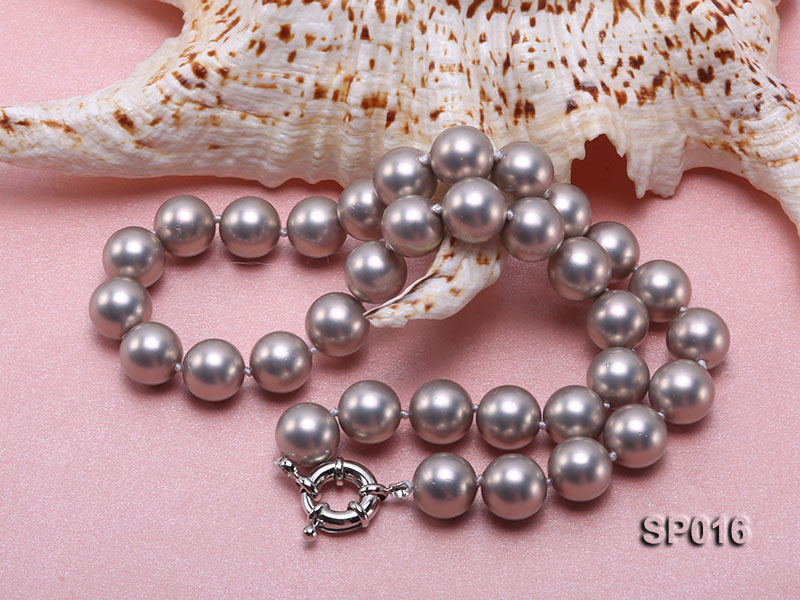 12mm grey round seashell pearl necklace big Image 4
