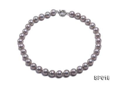 12mm grey round seashell pearl necklace SP016 Image 1
