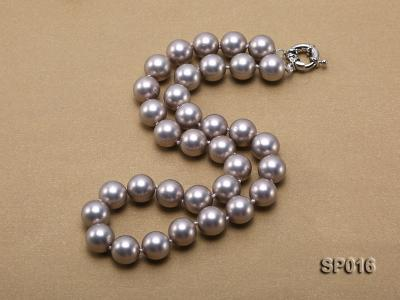 12mm grey round seashell pearl necklace SP016 Image 2