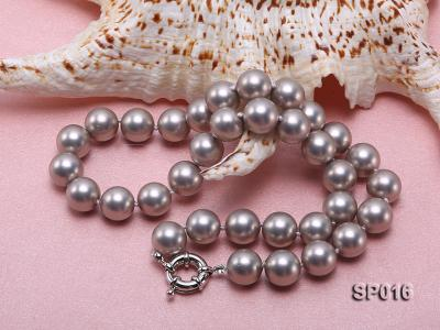 12mm grey round seashell pearl necklace SP016 Image 4