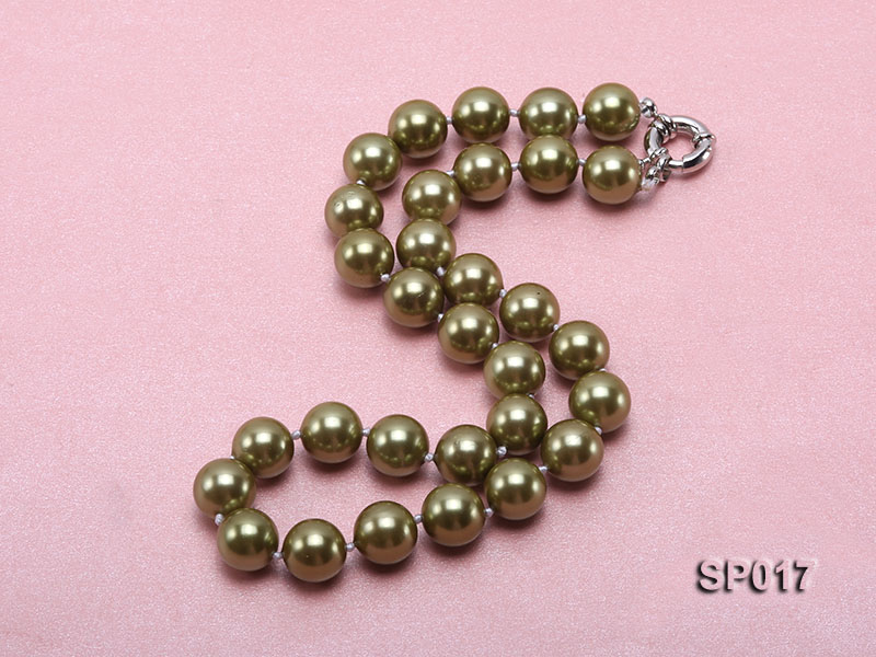 12mm green round seashell pearl necklace big Image 2