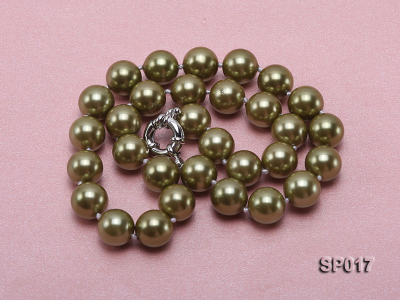 12mm green round seashell pearl necklace big Image 3