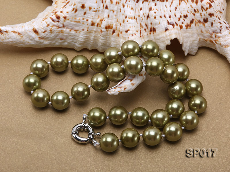 12mm green round seashell pearl necklace big Image 4