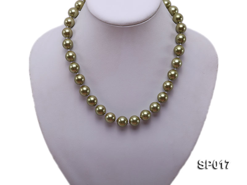 12mm green round seashell pearl necklace big Image 5