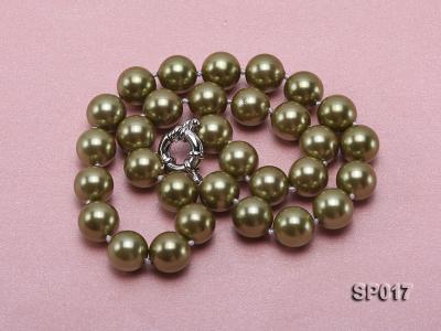 12mm green round seashell pearl necklace SP017 Image 3