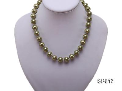 12mm green round seashell pearl necklace SP017 Image 5