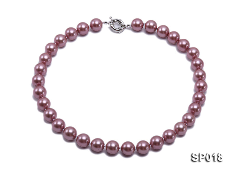 12mm claret-red round seashell pearl necklace big Image 1