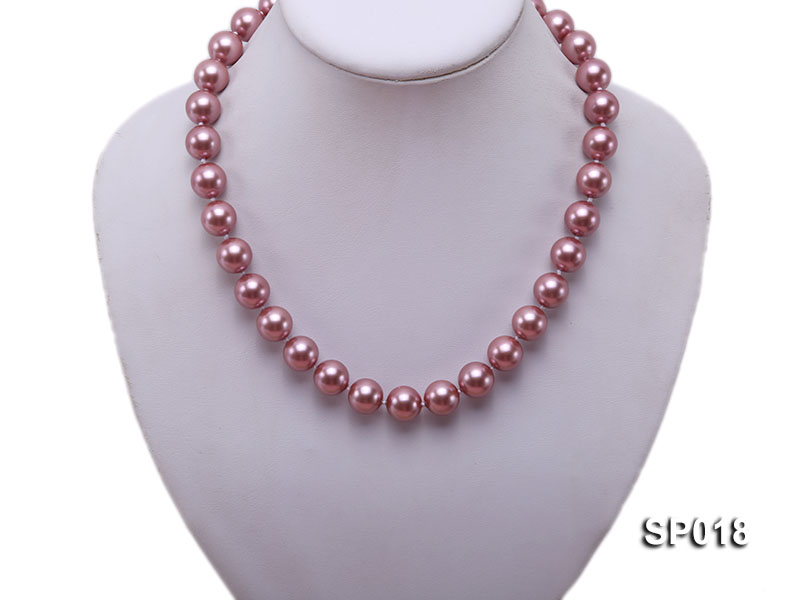 12mm claret-red round seashell pearl necklace big Image 5