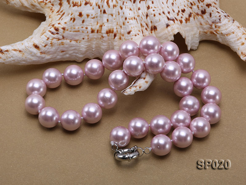12mm purple round seashell pearl necklace big Image 4