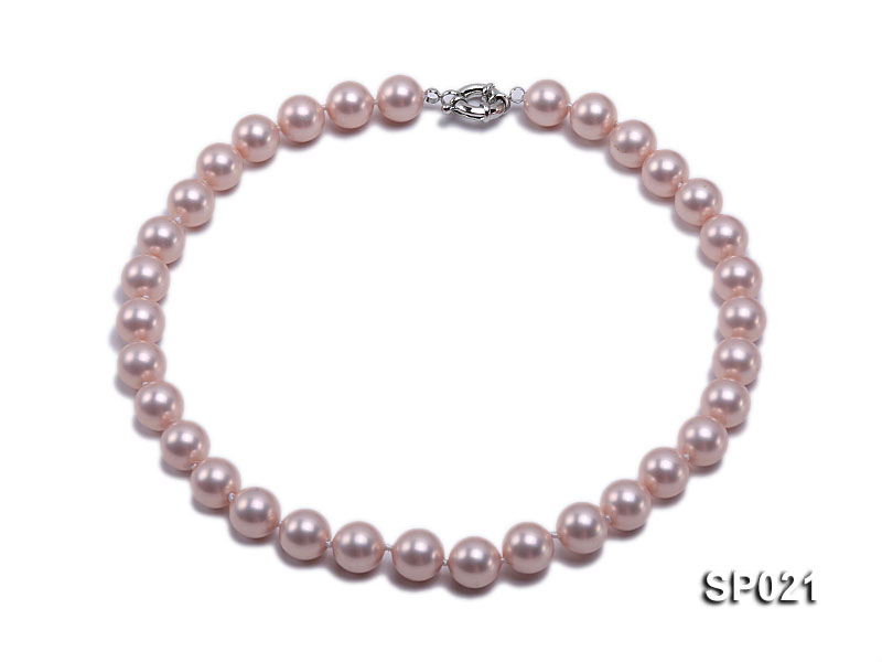 12mm pink round seashell pearl necklace big Image 1