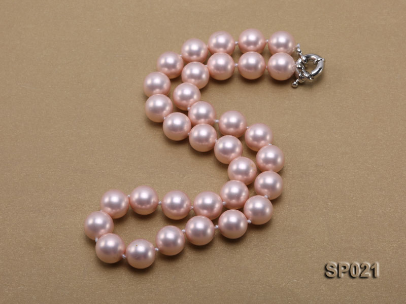 12mm pink round seashell pearl necklace big Image 2