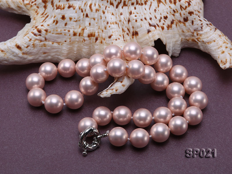 12mm pink round seashell pearl necklace big Image 4