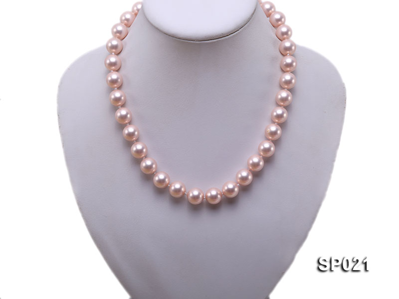 12mm pink round seashell pearl necklace big Image 5