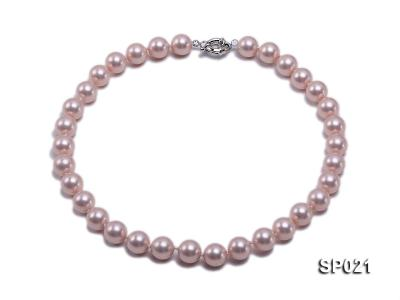 12mm pink round seashell pearl necklace SP021 Image 1