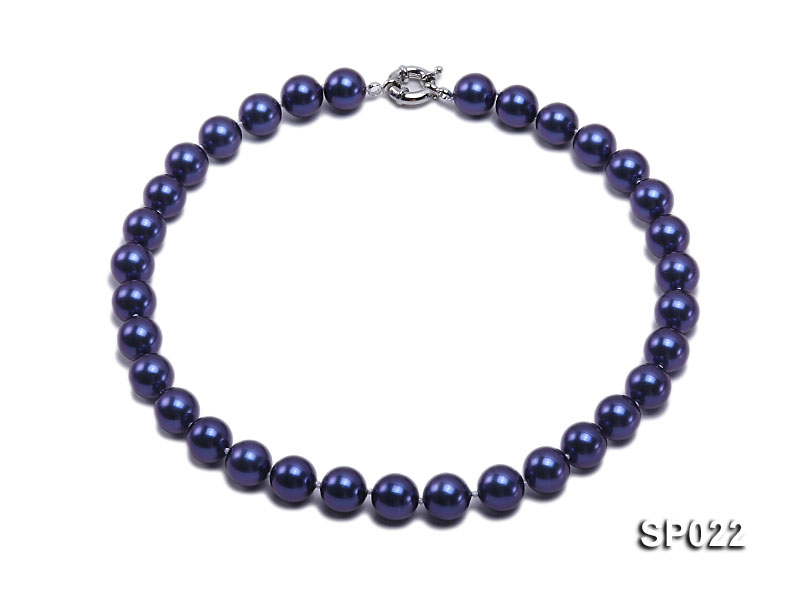 12mm dark blue round seashell pearl necklace big Image 1