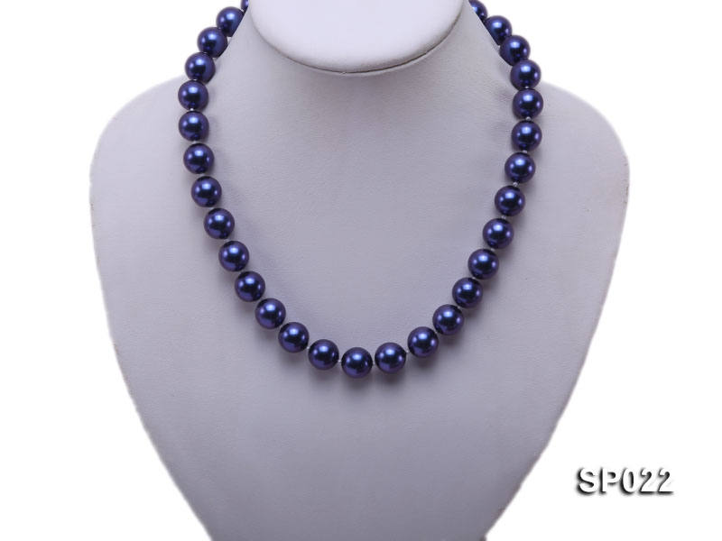 12mm dark blue round seashell pearl necklace big Image 2