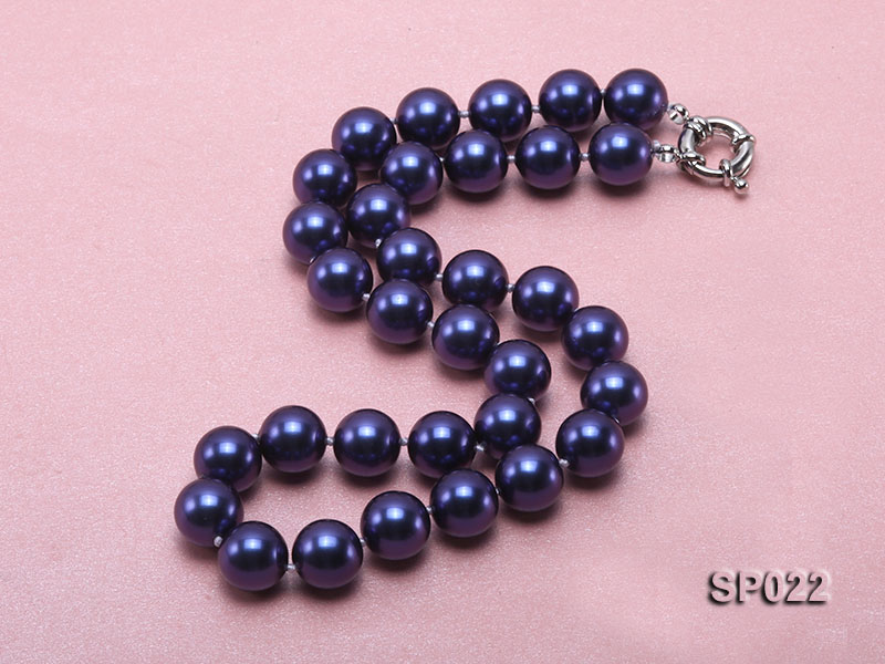 12mm dark blue round seashell pearl necklace big Image 3
