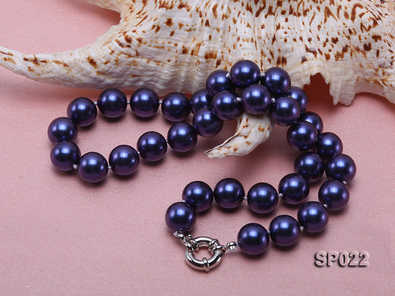 12mm dark blue round seashell pearl necklace big Image 4