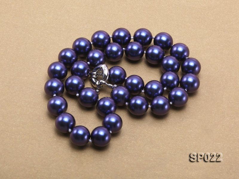 12mm dark blue round seashell pearl necklace big Image 5