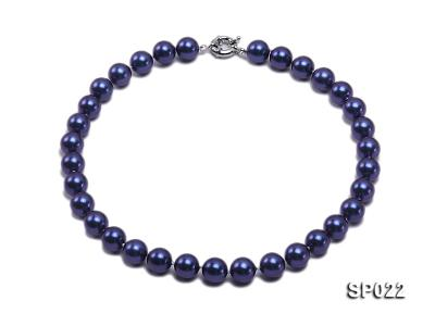 12mm dark blue round seashell pearl necklace SP022 Image 1