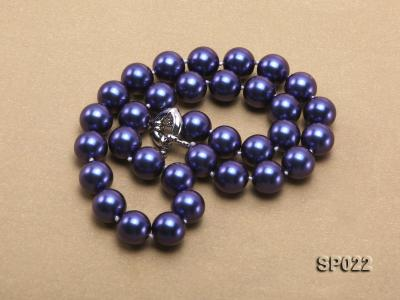 12mm dark blue round seashell pearl necklace SP022 Image 5