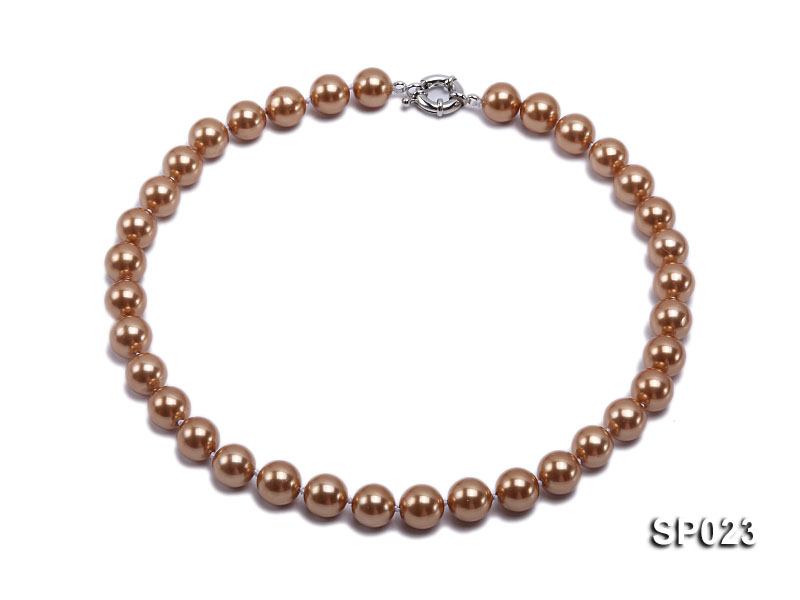 12mm bronze round seashell pearl necklace big Image 1