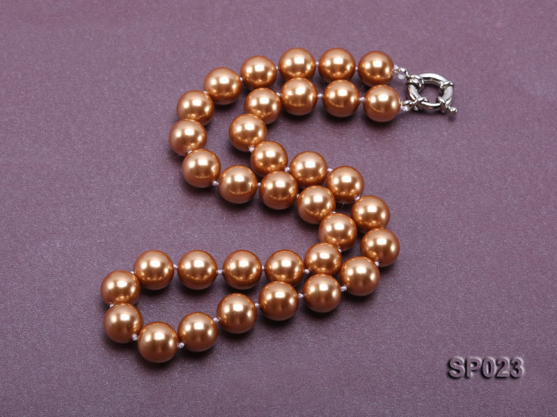 12mm bronze round seashell pearl necklace big Image 2