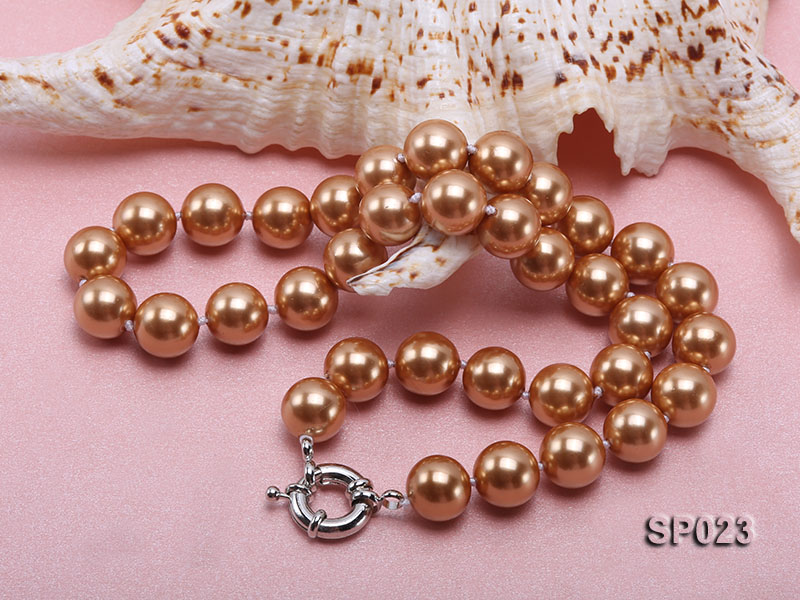 12mm bronze round seashell pearl necklace big Image 3