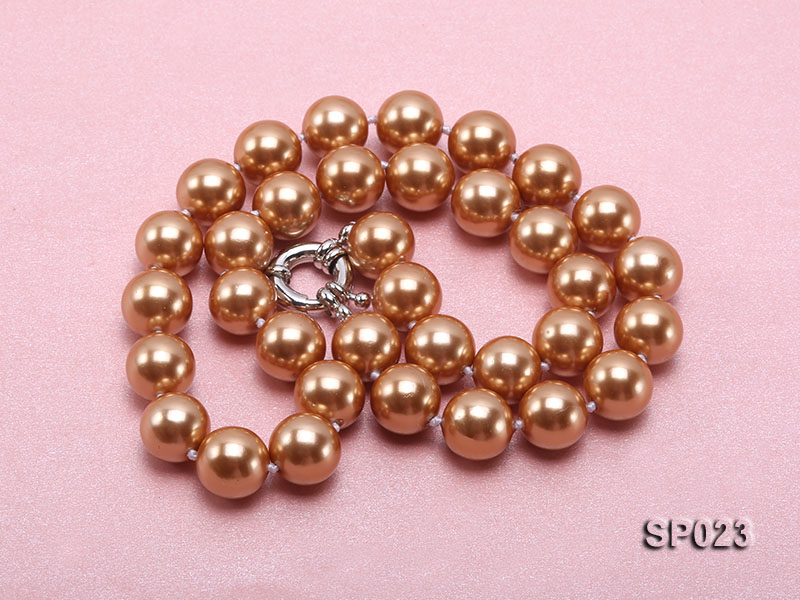 12mm bronze round seashell pearl necklace big Image 4
