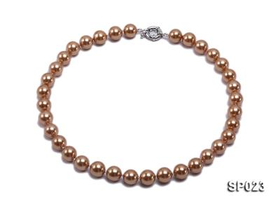 12mm bronze round seashell pearl necklace SP023 Image 1