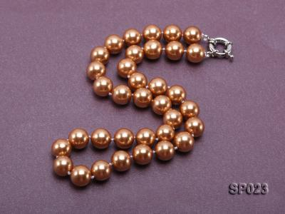 12mm bronze round seashell pearl necklace SP023 Image 2