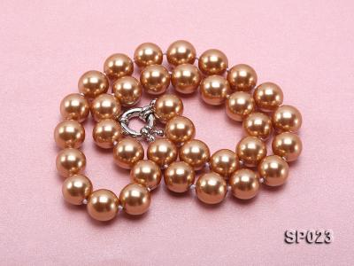 12mm bronze round seashell pearl necklace SP023 Image 4