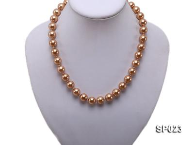 12mm bronze round seashell pearl necklace SP023 Image 5