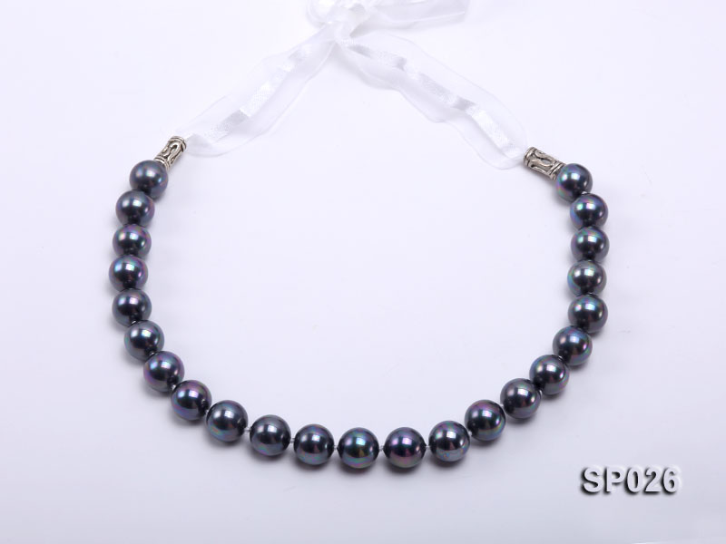 12mm black round seashell pearl necklace with white ribbon big Image 2