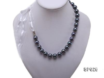 12mm black round seashell pearl necklace with white ribbon SP026 Image 1
