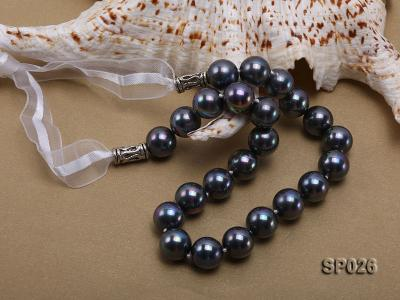 12mm black round seashell pearl necklace with white ribbon SP026 Image 3