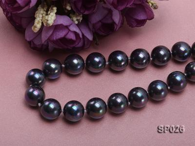 12mm black round seashell pearl necklace with white ribbon SP026 Image 4