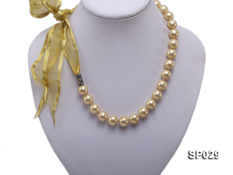 12mm golden round seashell pearl necklace with golden riband big Image 1