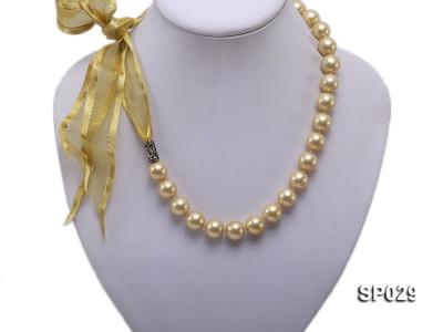 12mm golden round seashell pearl necklace with golden riband SP029 Image 1