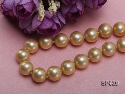 12mm golden round seashell pearl necklace with golden riband SP029 Image 4