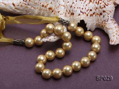 12mm golden round seashell pearl necklace with golden riband SP029 Image 5