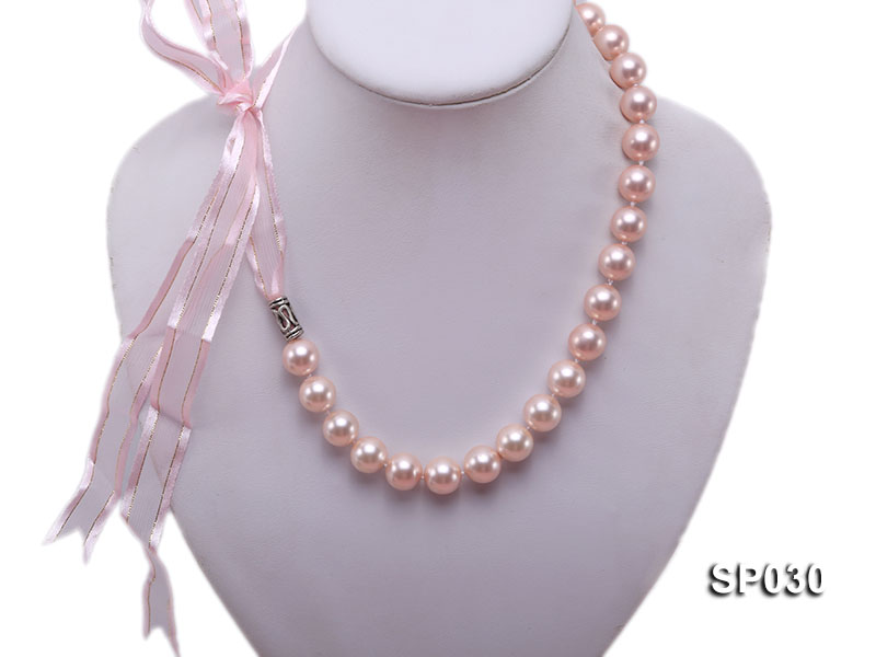 12mm pink round seashell pearl necklace with pink riband big Image 1