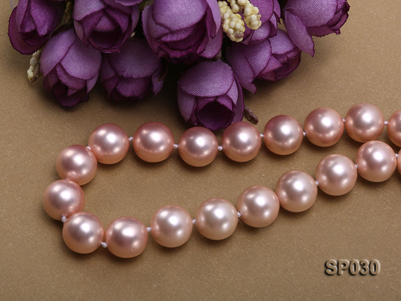 12mm pink round seashell pearl necklace with pink riband big Image 3