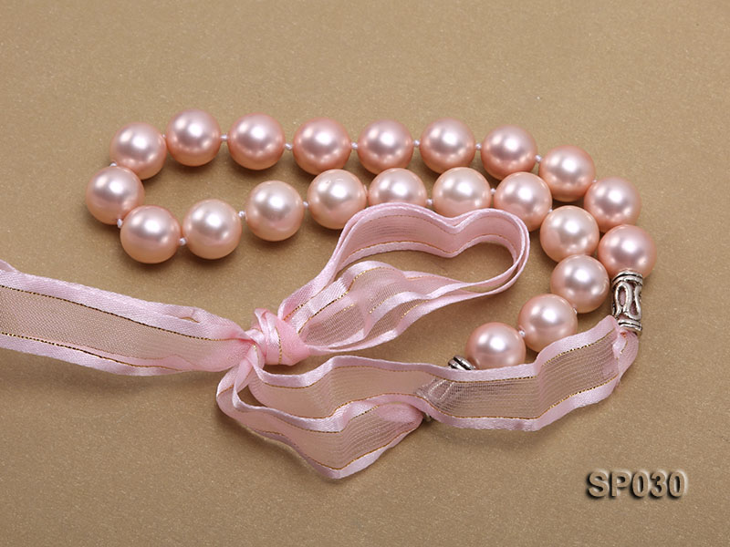 12mm pink round seashell pearl necklace with pink riband big Image 4