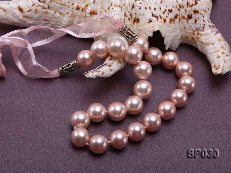 12mm pink round seashell pearl necklace with pink riband big Image 5
