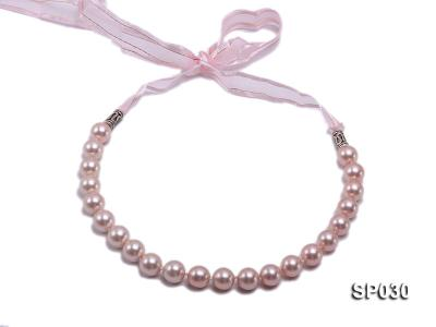 12mm pink round seashell pearl necklace with pink riband SP030 Image 2
